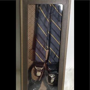 Trafalgar Mens Blue & Gold Striped Suspenders New